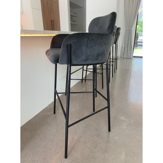Contemporary Charcoal Velvet Bar Stools - Set of 4 For Sale In Dallas - Image 6 of 10