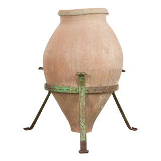 French 19th Century Terracotta Olive Jar on Painted Wrought-Iron Stand For Sale