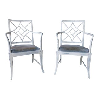 1970s Vintage Chinese Chippendale Armchairs - A Pair