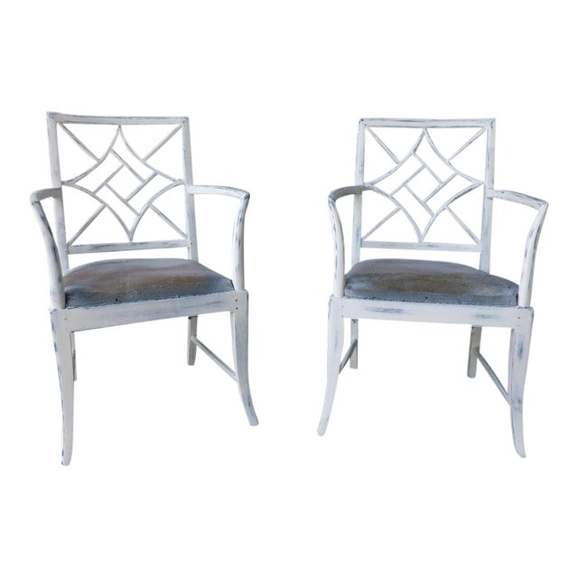 1970s Vintage Chinese Chippendale Armchairs - a Pair For Sale