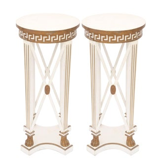 Pair of Painted and Parcel-Gilt Neoclassical Pedestals For Sale