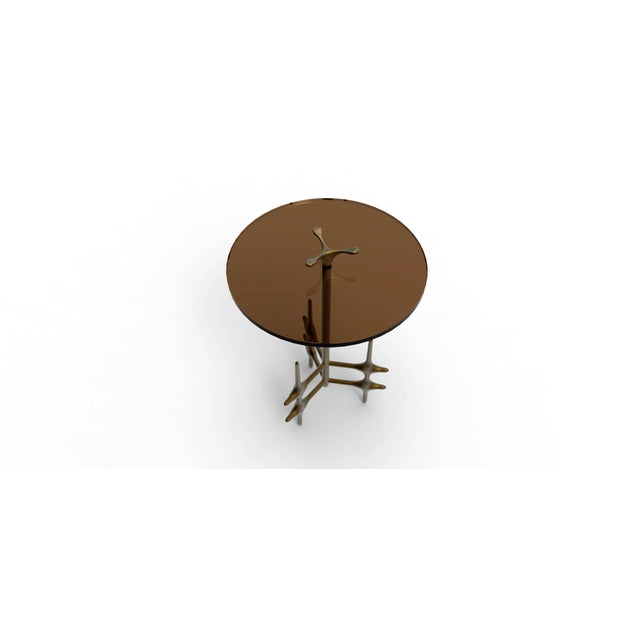 Contemporary William Collins Collection Bronze and Glass Ico Drinks Table For Sale - Image 3 of 10