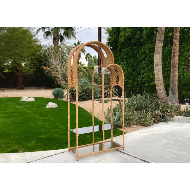 1970s Boho Chic Double Arch Rattan and Glass Shelf Etagere For Sale - Image 10 of 10