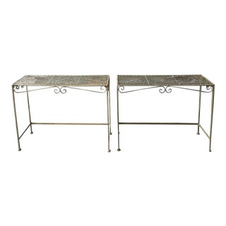 Pair of Outdoor Garden Patio Tables For Sale