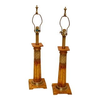 Stiffel Vintage Pair Lamps Modern With Gold Leaf - a Pair For Sale
