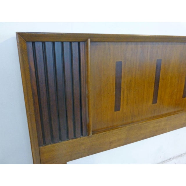 Vintage Lane King Size Ribbed Walnut and Rosewood Headboard Hard to Find - Image 3 of 10