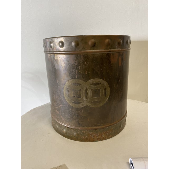 Metal Mid Century Brass Cashepot For Sale - Image 7 of 7