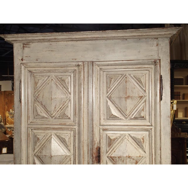 Painted 17th Century French Oak Diamond Point Armoire For Sale - Image 4 of 13