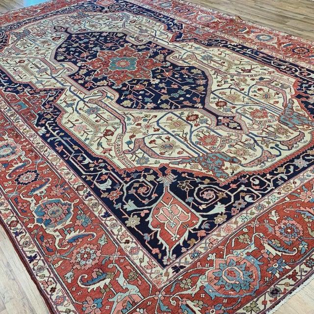 Antique Persian Serapi Heriz Rug- 10′8″ × 16′ For Sale - Image 9 of 11