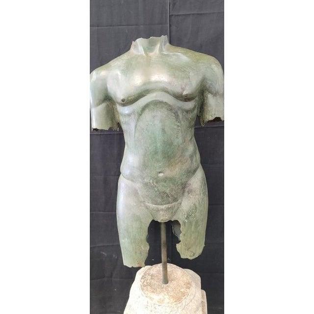 Antique Italian Bronze Life Size Torso W/Stone Base For Sale - Image 4 of 13