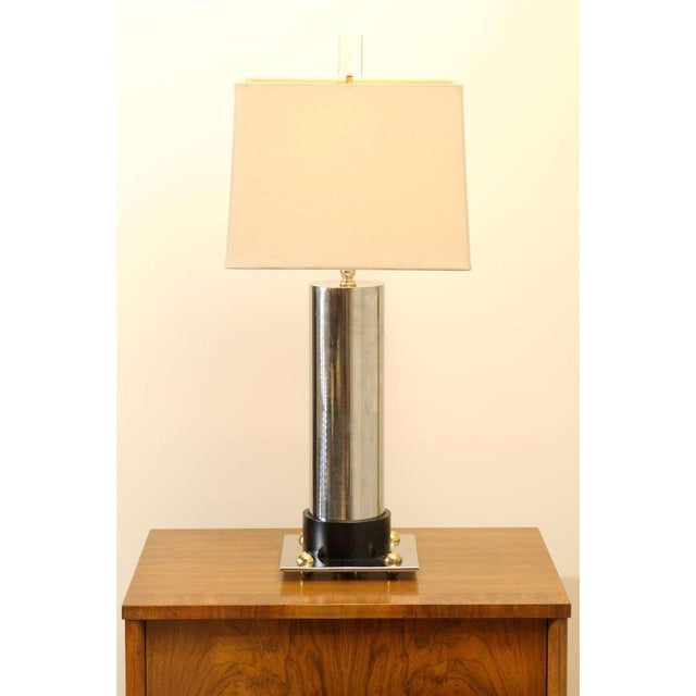 Modern Handsome Pair of Modern Cylinder Lamps in Nickel and Brass For Sale - Image 3 of 7