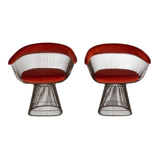Pair of Bronze Accent Chairs by Warren Platner for Knoll For Sale
