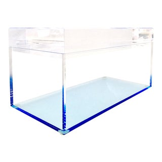 Alexandra Von Furstenberg Contemporary Lucite Lidded Blue Box For Sale