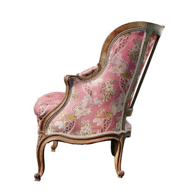 Louis XV Style Walnut and Painted Bergere Chair - Image 8 of 10