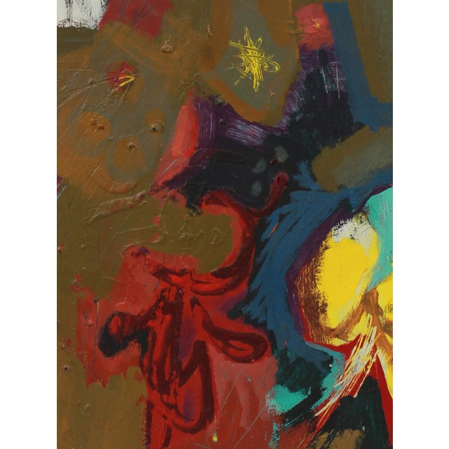 This late 1950s acrylic on paper board abstract is by Bay Area painter, printmaker, and designer Calvin Anderson (b....