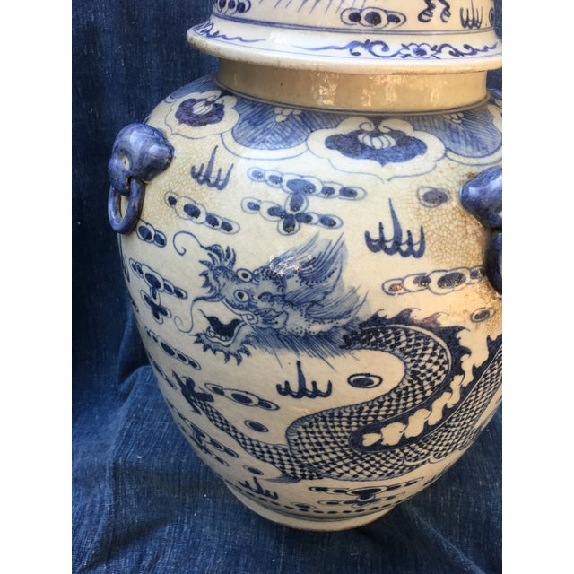 Chinese Foo Dog/Dragon Lidded Urn For Sale - Image 4 of 9