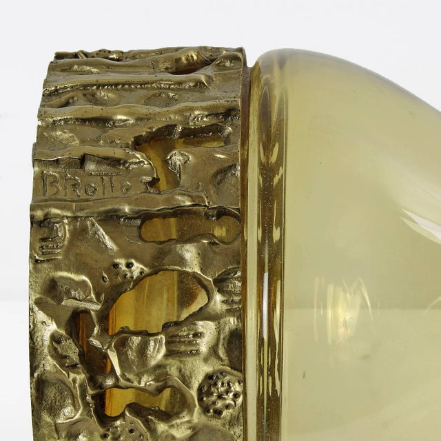 1970s Set of Three Murano Bottles by Angelo Brotto, yellow glass, bronze - Italy For Sale - Image 9 of 11