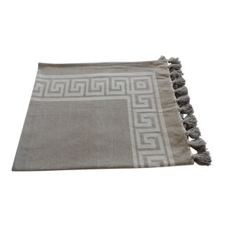 Greek Key Throw With Tassels For Sale