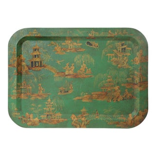 Vintage Chinoiserie Green Tray With Hand Painted Scenery in Gold Paint