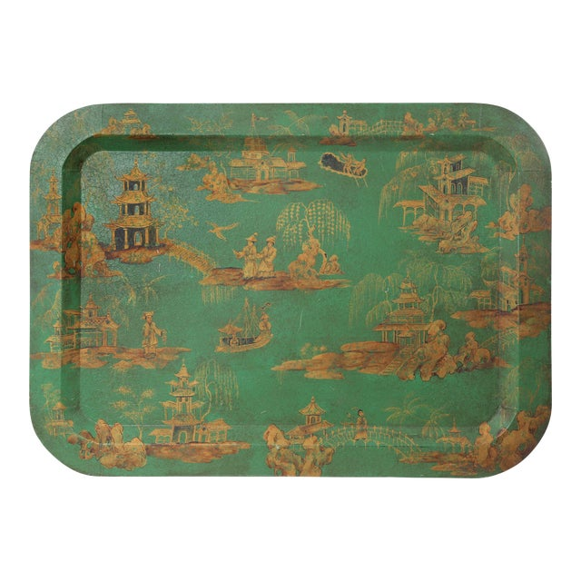 Vintage Chinoiserie Green Tray With Hand Painted Scenery in Gold Paint For Sale