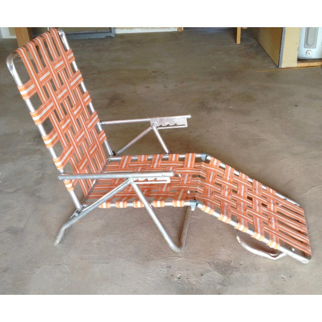 Orange Mid-Century Aluminum Webbed Outdoor Chaise Lounge For Sale - Image 8 of 8