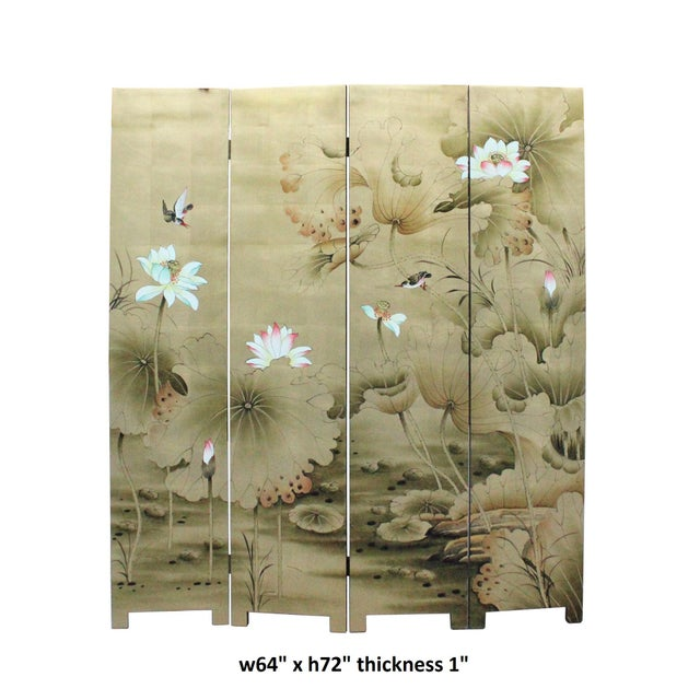 Veneer Chinese Golden Oriental Lotus Flower Birds Graphic Screen For Sale - Image 7 of 12