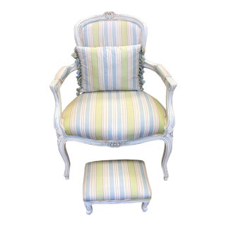 French Provincial Arm Chair + Foot Stool For Sale