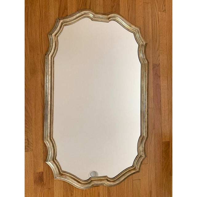 Hollywood Regency Final Markdown 1980s Vintage Friedman Brothers Tall Carved Silver Leaf and Gilt Wood Wall Mirror For Sale - Image 3 of 7
