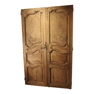 Pair of Circa 1800 Stripped Walnut Wood Doors From France For Sale