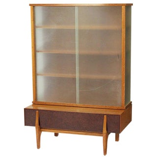 John Keal Wall Unit / Vitrine with Drawers for Brown Saltman For Sale