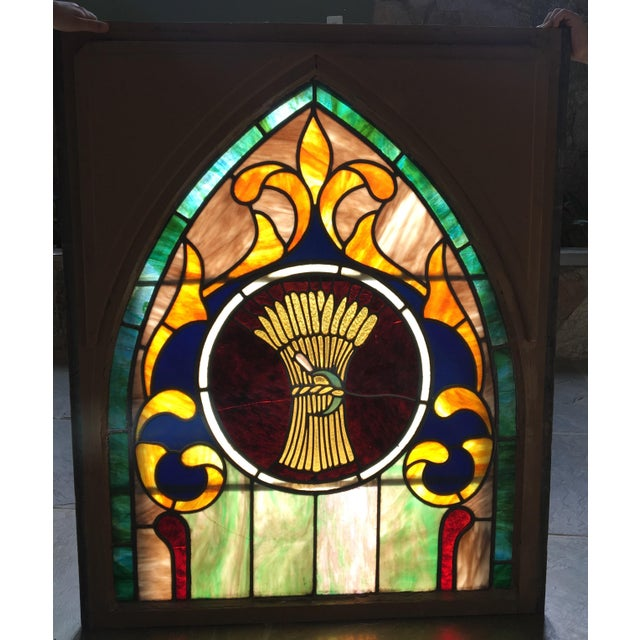Late 19th Century Late 19th Century Vintage Wheat and Sickle Gothic Leaded Stained Glass Window For Sale - Image 5 of 8
