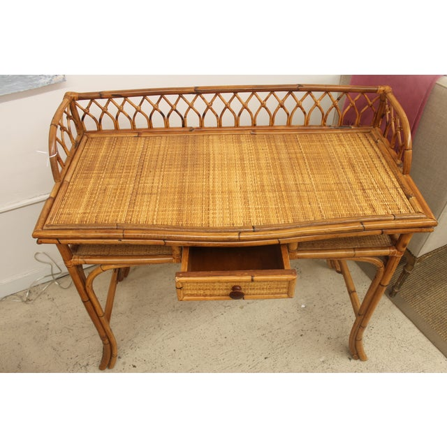 Rattan Desk and Bamboo Chair Set - Image 4 of 5