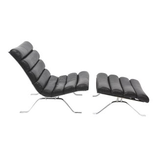 Arne Norell Chrome and Leather Chair and Ottoman, Sweden For Sale