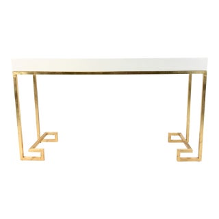 Worlds Away Contemporary Barsanti White Lacquer Console Table For Sale
