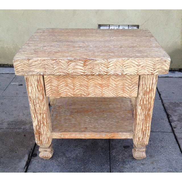 Carved & Bleached Wood Side Tables - A Pair For Sale In Los Angeles - Image 6 of 8