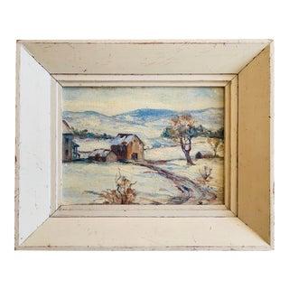 1950s Original Oil Painting Winter Scene Landscape Unsigned For Sale