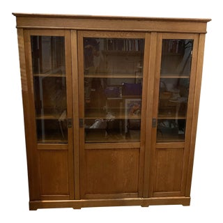 Early 20th Century Oak Cabinet with Key For Sale