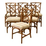 Image of Vintage Coastal Ficks Reed Bamboo Dining Chairs - Set of Six For Sale