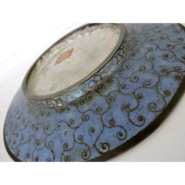19th Century Japanese Cloisonne Bronze Floral Plate, Meiji Period For Sale In Tampa - Image 6 of 6