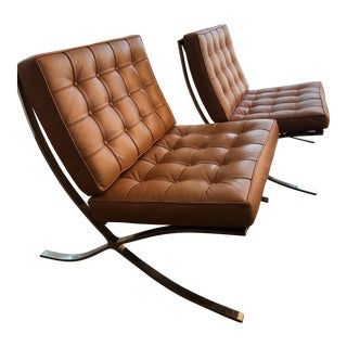 Modern Barcelona Style Tan Colored Chairs - a Pair For Sale