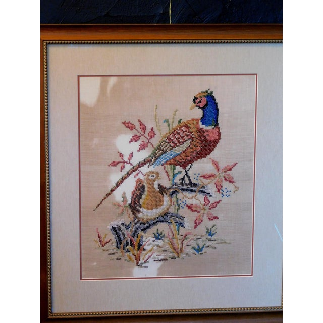 1980s Late 20th Century Embroidered Needlepoint of a Pheasant, Framed For Sale - Image 5 of 6