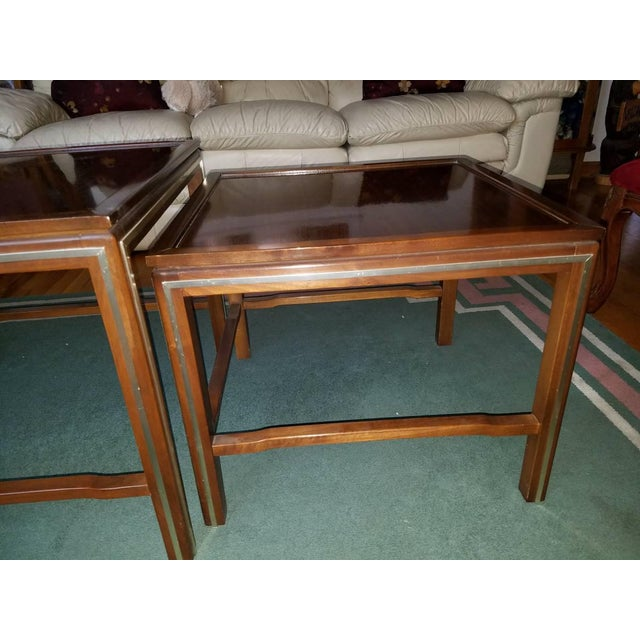 Mid-Century Modern 1963 Rare Widdicomb Mid-Century Walnut With Brass Inlay Nesting Tables - Set of 3 For Sale - Image 3 of 13