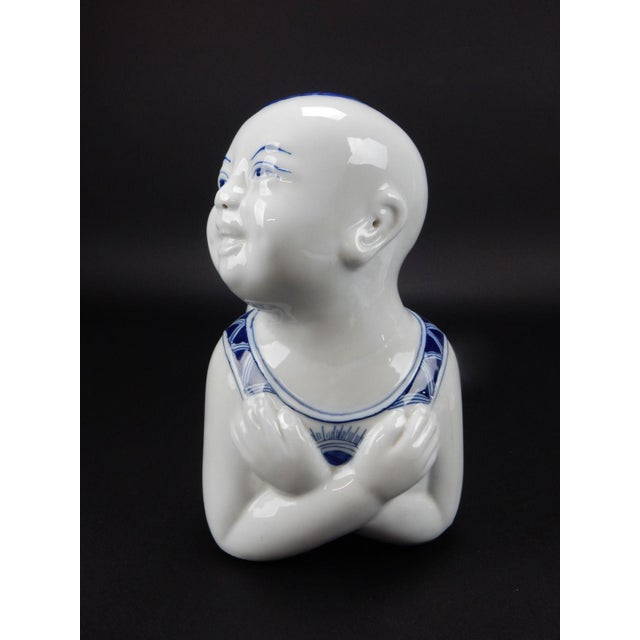 Ceramic Chinese Blue & White Porcelain Pillow Figurine For Sale - Image 7 of 11