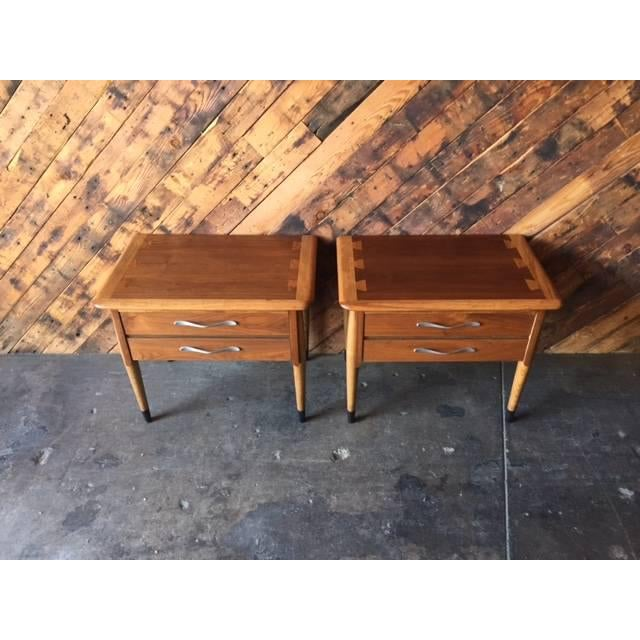 Lane Acclaim Mid-Century Walnut Nightstands - A Pair - Image 3 of 8