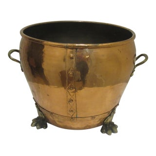 Arts and Crafts Handmade Hammered Copper Bucket With Brass Claw Feet For Sale