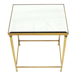 Solid Brass Tapered Leg Beveled Glass Mirror Top Side End Table For Sale