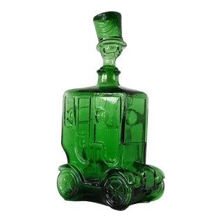 1960s Italian Emerald Green Glass Car Decanter For Sale