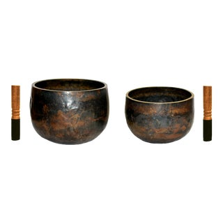 Antique Japanese Singing Bowls - a Pair For Sale