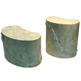 1980s Mid-Century Modern Maitland-Smith Kidney Shape End Tables - a Pair For Sale