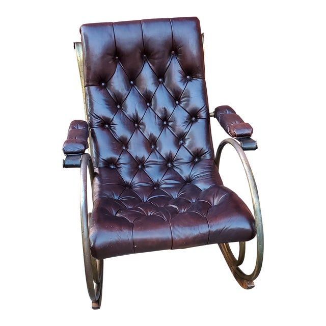 Mid Century Tufted Leather Rocking Chair For Sale